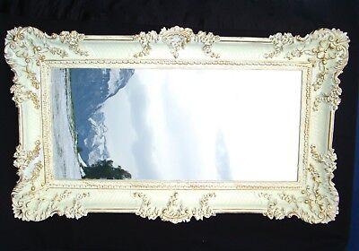 Bilderrahmen Weiß/Gold Barock Gemälderahmen  Antik Rokoko 96x57 Rahmen Groß 3074 (Große Kunststoff-bilderrahmen)