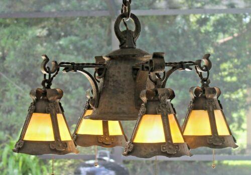 HISTORIC antique Mission Arts&Crafts hammered iron slag chandelier Stickley era