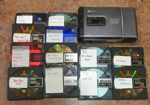 Sony MD MiniDisc Player MZ-E40 Portable Walkman Mega Bass (+ 12 Mini Discs) !!!