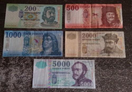 Hungary Lot Forint 5 banknote 2004 - 2018 (200, 500, 1000, 2000, 5000 HUF)