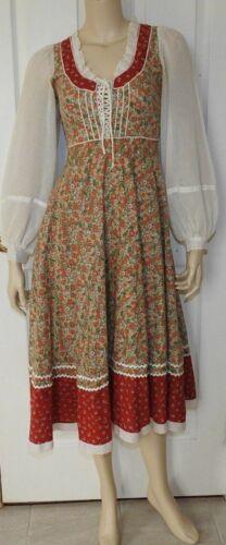 Vintage Gunne Sax Lace up bodice Corset Bohemian Dress Fall Holiday Colors sz 7