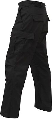 Black RELAXED FIT Military Zipper Fly 6-Pockets BDU Cargo Fatigue Pants 2971