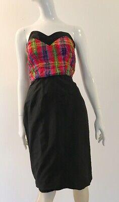 80s Dresses | Casual to Party Dresses Vintage 1980's Strapless Sweetheart Neckline Crushed Tartan Bodice Dress $19.51 AT vintagedancer.com