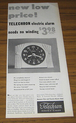 1949 Vintage Ad Telechron Electric Alarm Clocks Needs No Winding Ashland,MA