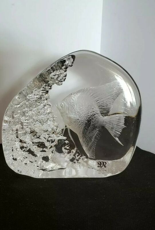 Mats Jonasson - Sweden Full Lead Tropical Fish Signed Paperweight with Label