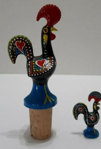 set of 2 portugal barcelos rooster folk art souvenir wine stopper