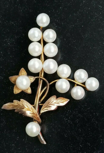 Vintage 14k Gold and Pearl Flower Pin Brooch 8 grams