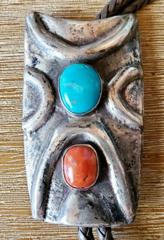 vintage SOUTHWEST BOLO TIE TURQUOISE & CORAL SANDCAST FREE SHIPPING IN THE USA!