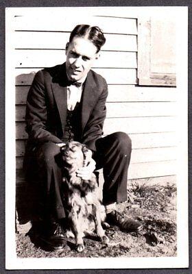 VINTAGE PHOTOGRAPH 1920'S-1930'S MEN'S FASHION COLLIE DOG PUPPY PUP OLD PHOTO (1920s Men Fashion)