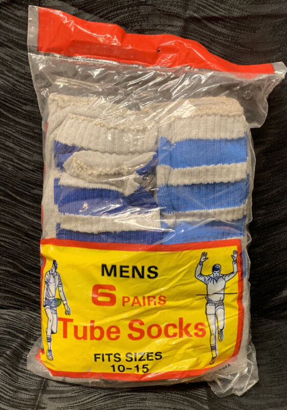 Vtg New Old Stock Tube Socks Deadstock 6 Pair Striped Super Soft USA 10-15