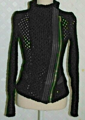 IRO Black Open Knit Zip Front Cardigan Sweater Jacket Leather Trim Size 36