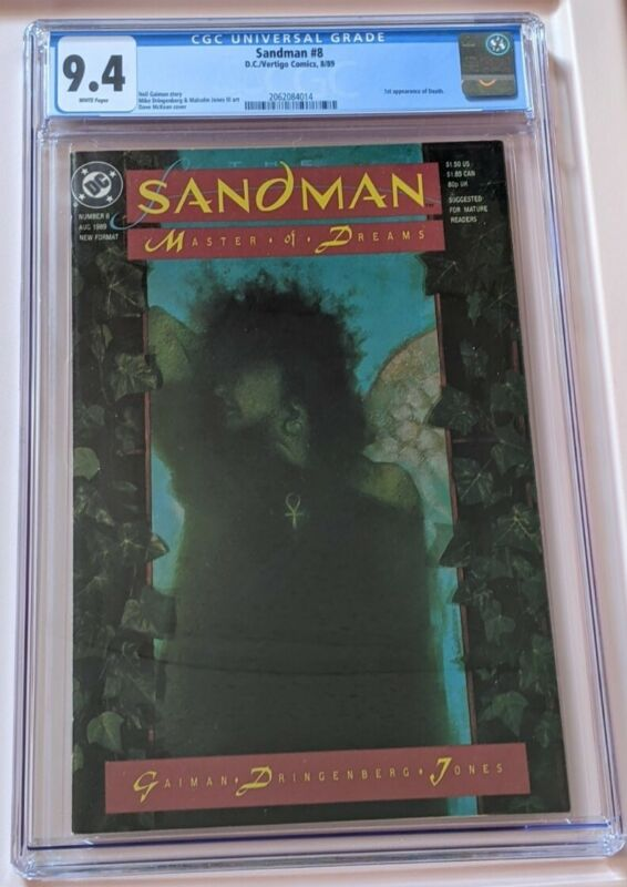 Sandman #8 CGC 9.4 NM Gaiman 1989 1st Appearance Death