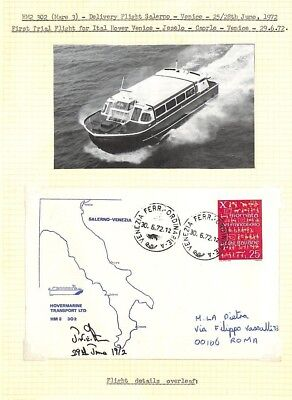 BC255 1972 ITALY Venice Hovercraft Cards{2} *First Trial Flight* SIGNED CAPTAIN