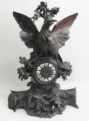 "Museum-Quality Antique 27"" German Black Forest Clock w/ Eagle  c. 1870"