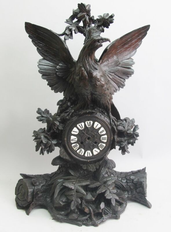 "Museum-Quality Antique 27"" GERMAN BLACK FOREST Clock w/ Eagle  c. 1870"