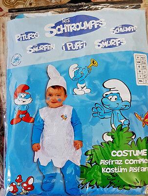 I Puffi Smurf - Vestito Abito Costume Carnevale Bambino 0-1 Anni 74cm - Nuovo