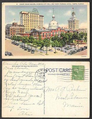1940 Florida Postcard - Tampa - Court House Square