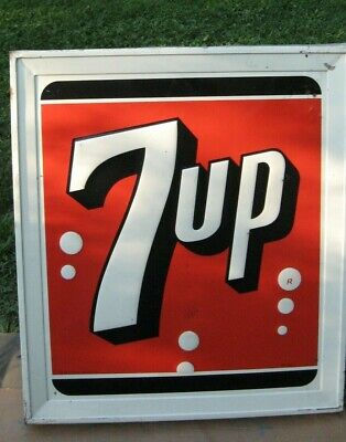 "Vintage - 7-UP - Metal Sign - 36"" x 32"" x 3"" - 1962"