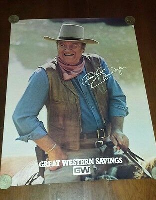 John Wayne Great Western Savings Bank Poster  Rare