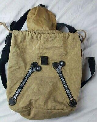 Vintage Kipling Backpack Drawstring Small Purse Tan Retro 90's VTG Super Cool