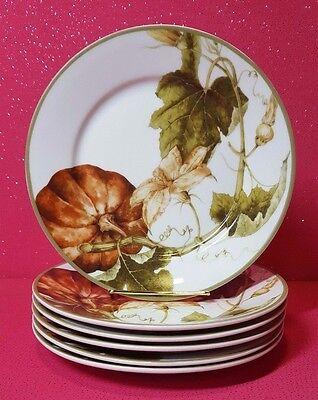 Williams Sonoma Set Of 6 Botanical Pumpkin Thanksgiving Salad Dessert Plates
