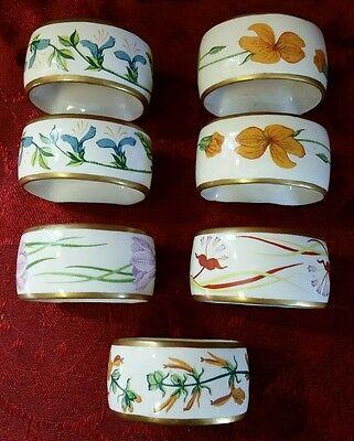 Porcelain Napkin Rings by Franklin Mint Floral 22k Trim lot of 7 VINTAGE