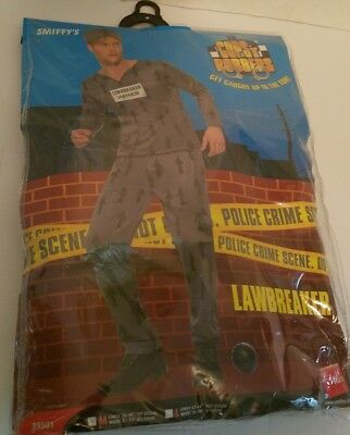 New Smiffy's Cops N Robbers Lawbreaker Adult Costume Top Trousers Hat M - Cops N Robbers Costumes