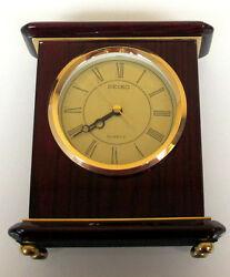 Seiko Desk Clock, Mahogany and Brass Tone Finish  QXG403BL