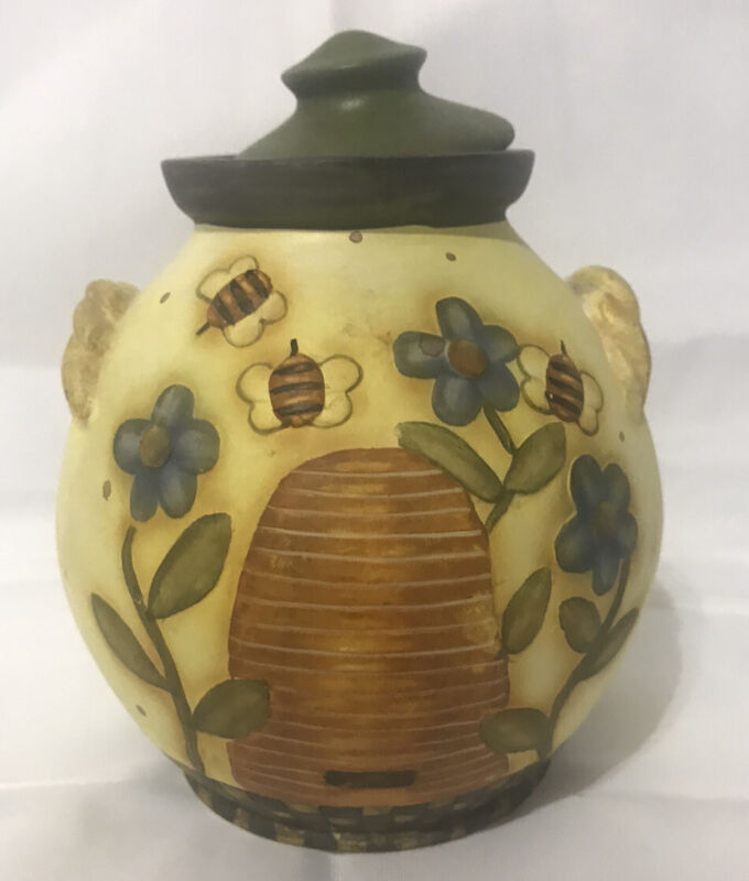 Lang And Wise Bobs Pottery Artist Kathy Crouch Ceramic Pot W/Lid Bees And Hive