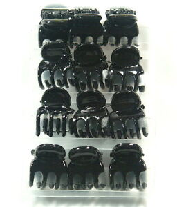 BLACK-MINI-HAIR-CLAW-CLAMPS-HAIR-CLIPS-HAIR-GRIPS-BULLDOG-CLIPS-1-CM-WIDE-X-12