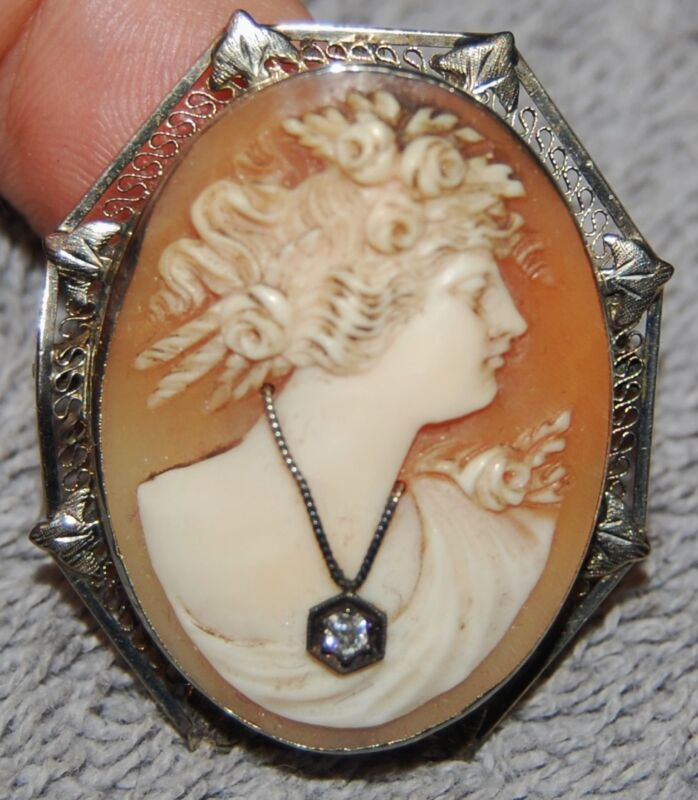 VINTAGE ART NOUVEAU CARVED SHELL CAMEO 14K FILIGREE W/DIAMOND