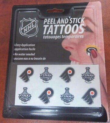 **NEW** Philadelphia Flyers Stanley Cup Final Peel and Stick Hockey Tattoos NHL - Hockey Stick Tattoo