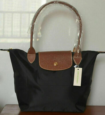 LADY New Longchamp Le Pliage Nylon Black Tote Handbag Bag Size L Ladies Black Handbag