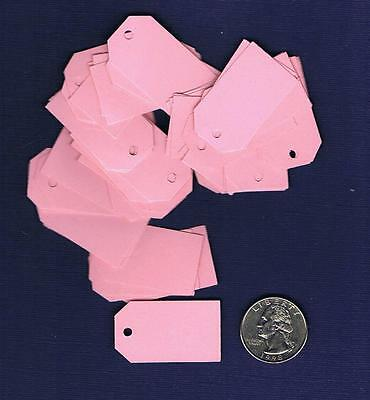 100 Small Blank Handmade Gift Tags - Pink Rose - Hang Easter Price Baby Girl