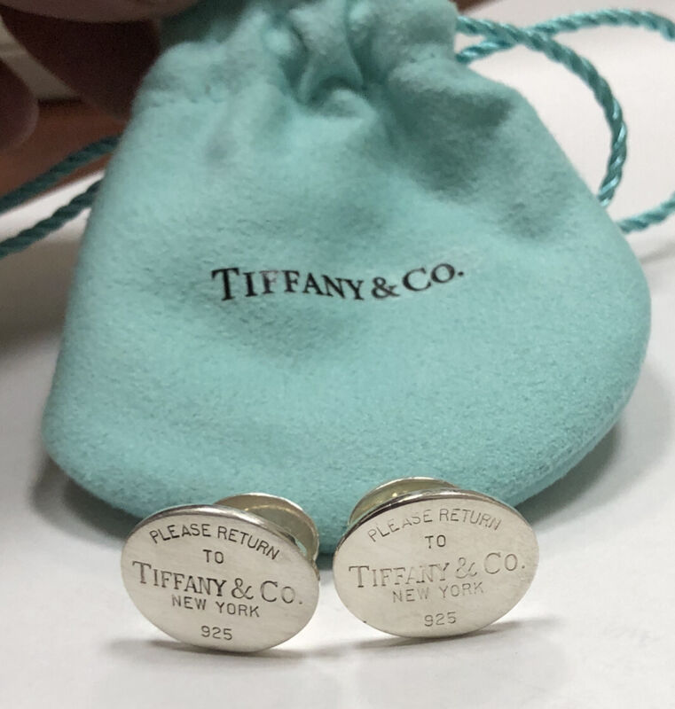 Authentic Please Return To Tiffany & Co NY Sterling Silver Cuff links