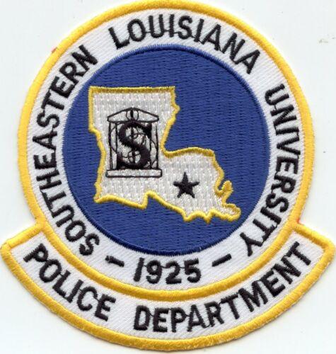 old style SOUTHEASTERN LOUISIANA UNIVERSITY blue background POLICE PATCH