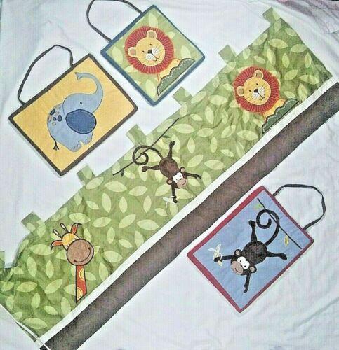 Jungle Safari Baby Nursery Window Valance 3 Wall Hangings Monkey Giraffe Lion