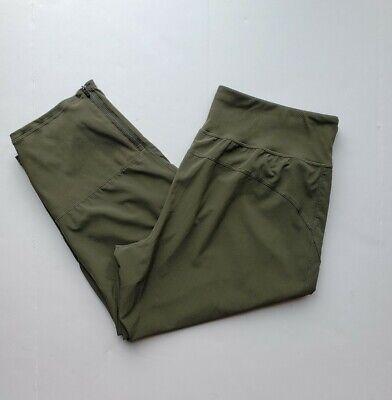 Zella Crop Leggings Womens Size XL Green pockets and zippered legs