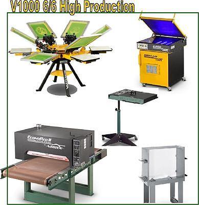Vastex V-1000 Screen Printing Press 6 Station 6 Color High Production Supply