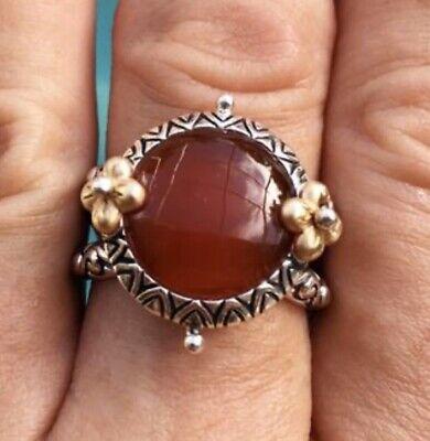 Barbara Bixby Sterling Silver 18K Yellow Gold Carnelian Ring Size 9 18k Yellow Gold Ring
