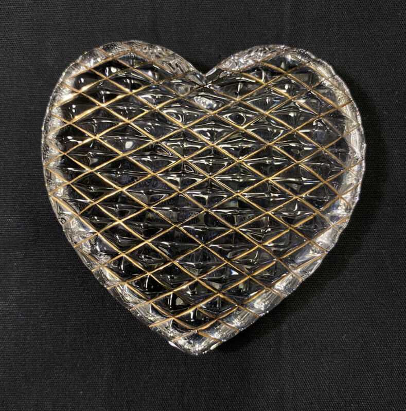 St. Louis Crystal Clear Heart Quilted Paperweight 24K Gold Leaf France