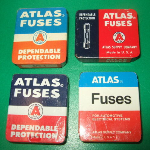 SET of 4 different VINTAGE ATLAS FUSE TINS w/RARE ORANGE & BLUE w/fuses NICE!