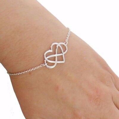 Infinity Sign with Heart Bracelet - 925 Sterling Silver - Love Symbol Gift Link - Infinity Silver Link Bracelets