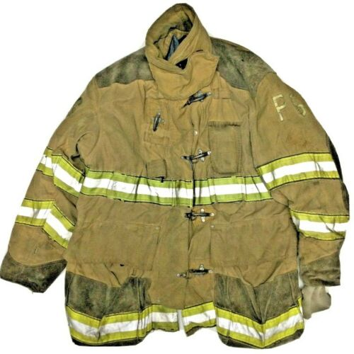 50x35 Globe Firefighter Brown Turnout Jacket Coat with Yellow Tape J921