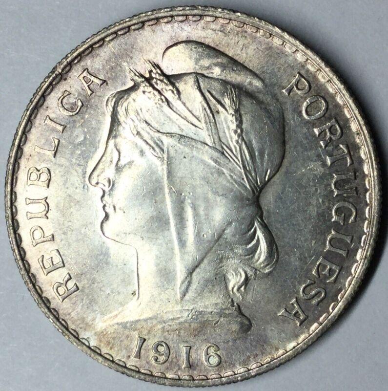 1916 Portugal Silver 50 Centavos BU Uncertified