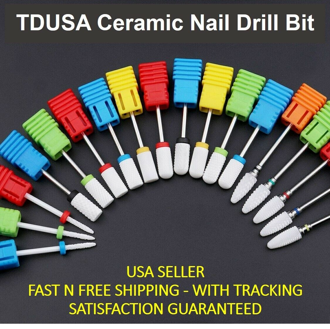 TDUSA CERAMIC NAIL DRILL BIT FOR PROS - FLAT HEAD, SMOOTH TO