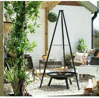 La Hacienda Tripod Steel Fire Pit + BBQ Grill Garden Patio Heater Outdoor