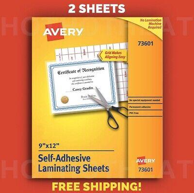 2 Avery Self-adhesive 9 X 12 Clear Laminating Sheets 73601 Permanent Adhesive