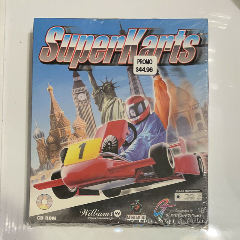 Superkarts PC Game Vintage Factory sealed big retail box !