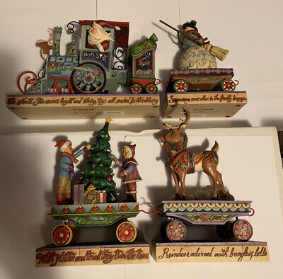Christmas Jim Shore North Star Express Train Set of 4 Full Size Pieces Boxes Inc
